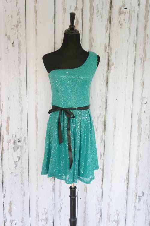 'Lily Rose' Teal Sequins Party Dress - $30 perfect for any cocktail party! in my #threadflip closet. #partydress #prom #boutique