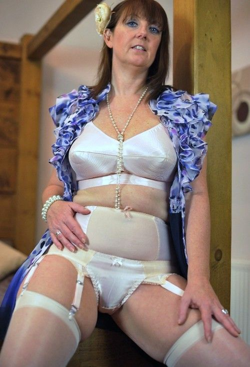 Girdle stockings panty mature