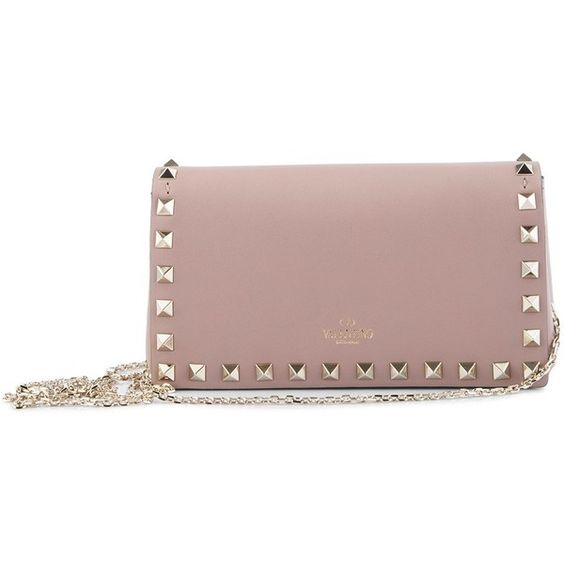 Valentino 'Rockstud' Pouch (£595) ❤ liked on Polyvore featuring bags, handbags, clutches, party clutches, valentino handbags, brown over the shoulder purse, leather purses and valentino purses: