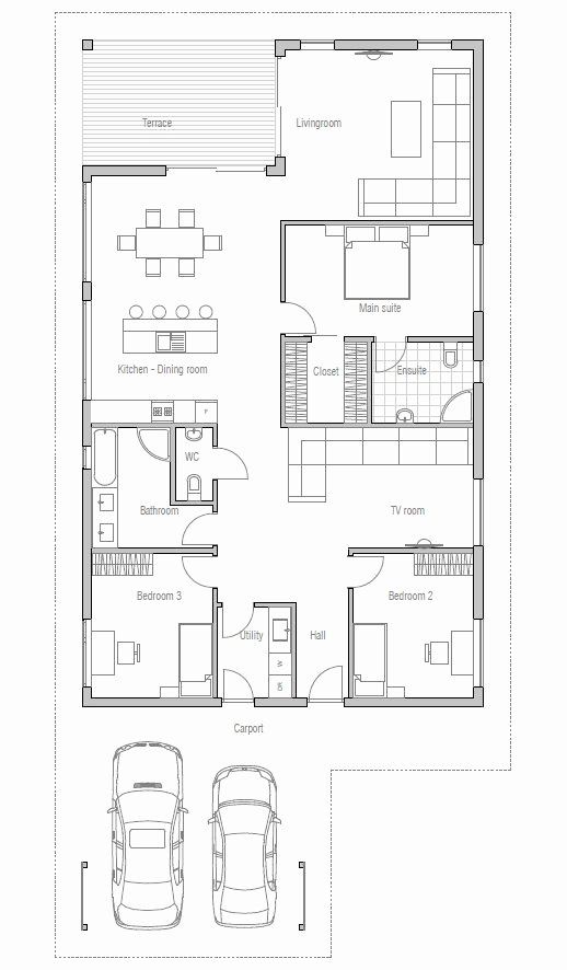 Low Budget Modern 3 Bedroom House Design Elegant Affordable Home With Simple Lines And Shapes Three Bedrooms In 2020 House Plans Small House Plans How To Plan