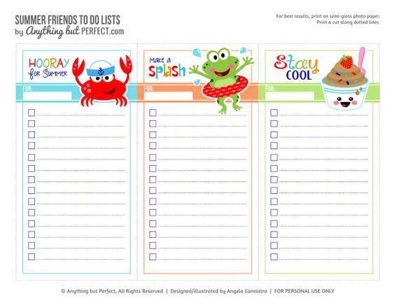 Free Printable Summer To Do Lists