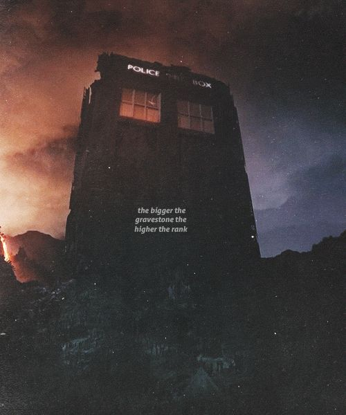 """The bigger the gravestone the higher the rank Doctor Who. I wonder if that's why Clara Oswin Oswald said... """"It's smaller on the outside""""...because she had already seen it like this. The inside didn't get smaller to fit inside, the outside got bigger."""