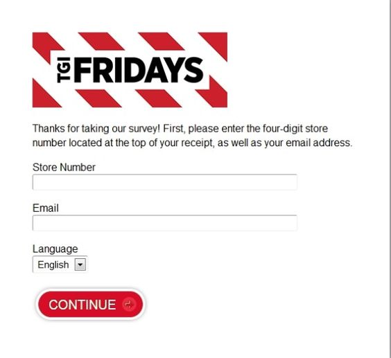 What questions are included on the TGI Friday's online survey?