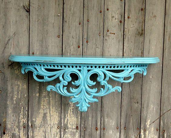 Vintage Ornate Shelf Blue Turquoise Aqua Burwood Baroque Hollywood Regency Large…