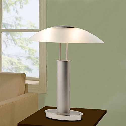 Stylish Design With Canoe Glass Shade Satin Nickel And Chrome Finish To Complete The Look 3 Way Touch Sensor P Touch Table Lamps Nickel Table Lamps Table Lamp