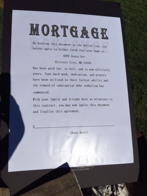 Mortgage Burning Party  Last Mortgage PaymentContract To Burn