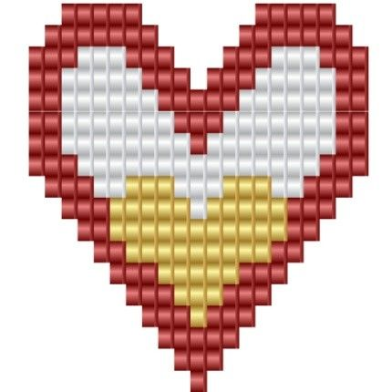 Heart Of My Heart, a pattern for looms or square stitch