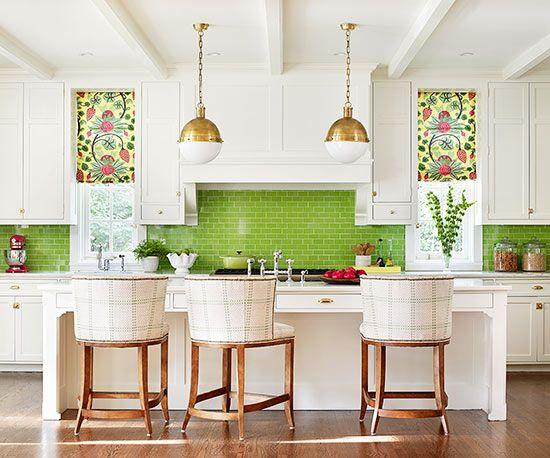 White kitchen design ideas the glass mesh and tile - Colorful kitchen backsplashes ...