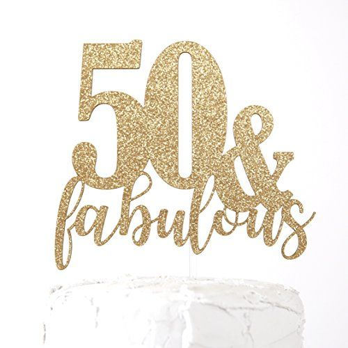 Plain or Glitter Happy 50th Birthday Card Cake Topper