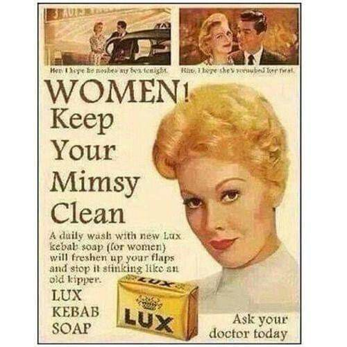 "Women! Keep your ""mimsy"" clean! 