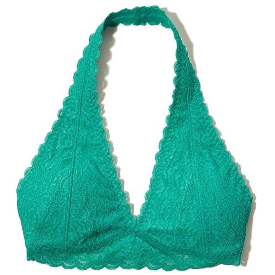 Hollister Gilly Hicks Removable-Pads Lace Halter Bralette ($17) ❤ liked on Polyvore featuring intimates, bras, turquoise lace, halter top, lace strappy bra, lace halter bra, lace strap bras and bralette bras