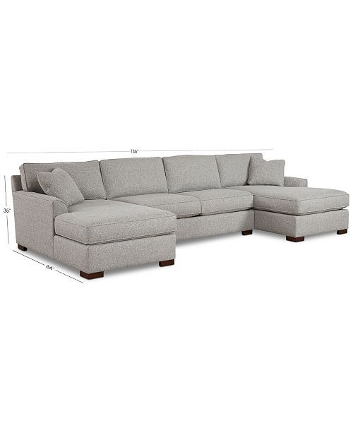 Carena 3 Pc Fabric Sectional Sofa With Double Chaise Created For