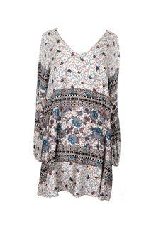 Floral V-Neck Dress - Cream #floral #v-neck #flowy #patterned #dress #loose #dress #fall #winter