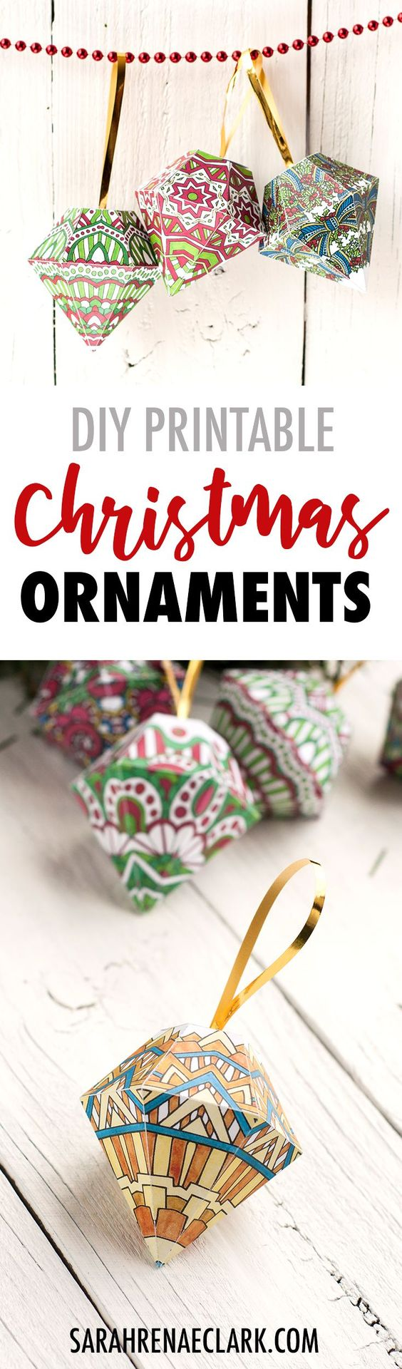 Color and make your own Christmas tree ornaments from paper with this set of 10 fun DIY Christmas printable templates! | Find more Christmas crafts at www.sarahrenaeclark.com/christmas #christmascraft #diychristmas #printables