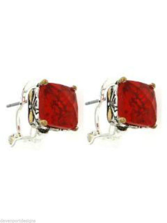 Red Glass Earrings Jewelry Prong Set Christmas Lever Backs Holiday Festive Ears #DavenportDesigns #Stud