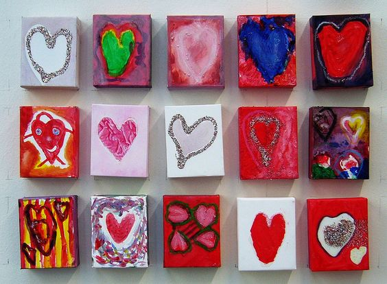 Valentine's Idea - love this! Gotta find small canvases cheap!
