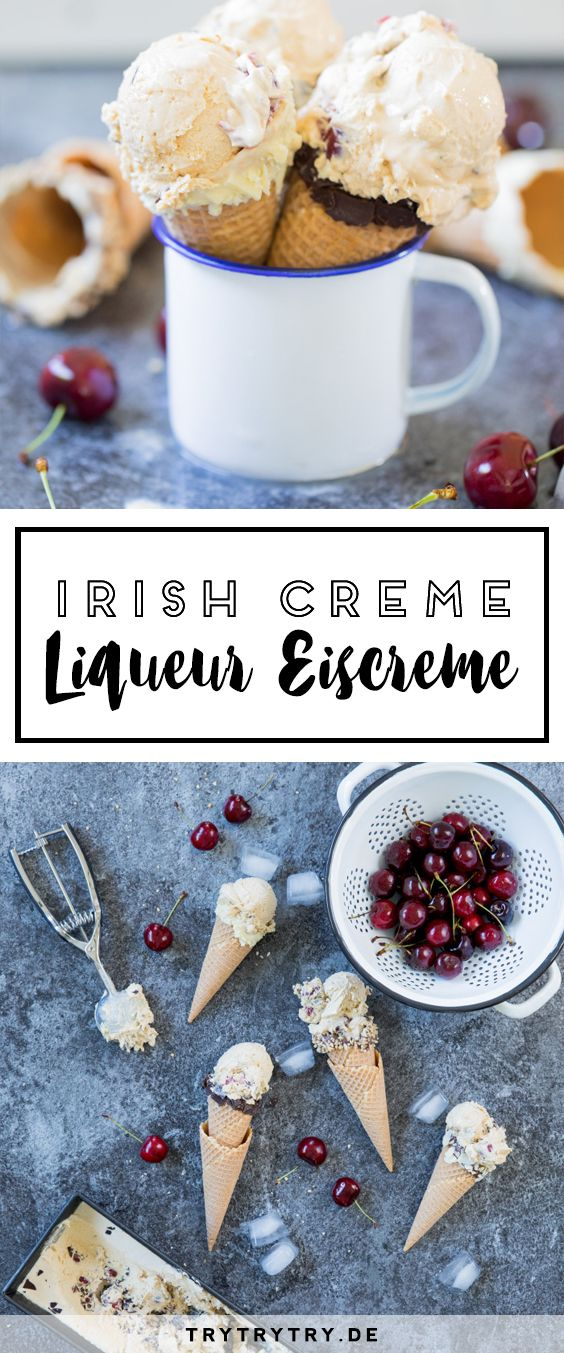 Irish Creme Liqueur Eiscreme mit Kirschen (Rezept mit Eismaschine)