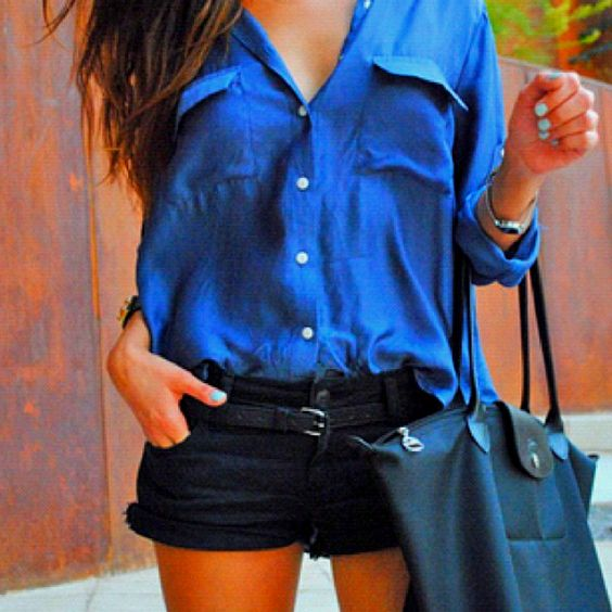 blue: Black Shorts, Button Up, Summer Style, Dream Closet, Cute Outfits, Spring Summer, Summer Outfits, Blue Shirts