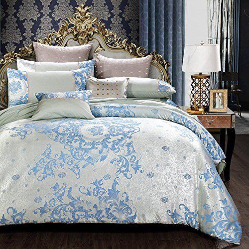 European Style Luxury Cotton Bedding Cotton Satin Jacquard 4 Piece Duvet Cover Bedding Set 1 8m Bedding Set Bed Covers Cotton Bedding
