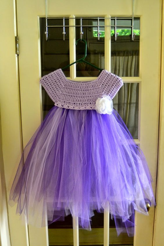 The View From My Hook: Free Pattern Friday: Kassia Empire Waist Dress (2-4 years) Crochet top, tulle bottom: