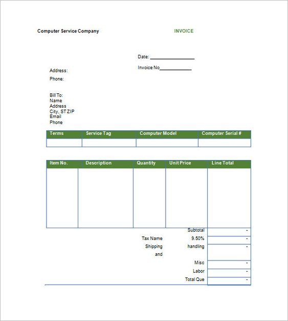 Free Printable Service Invoice templates , Free Printable Invoice - printable invoice free