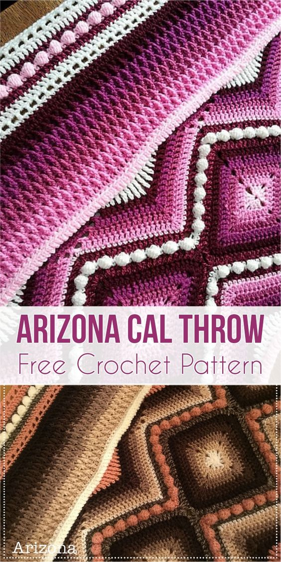 Arizona Cal Throw [Free Crochet Pattern] #crochet #throw #crochetblanket #freecrochetpattern #crochetcal #crochetpattern