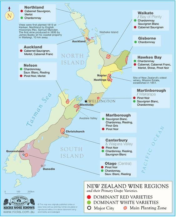 Map of New Zealand Wine Countryn and suggestion on www.unionoffood.com