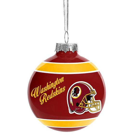 "Forever Collectibles ""Happy Holidays"" Washington Redskins Glass Ball Christmas Ornament, Multicolor"