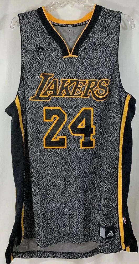 Kobe Bryant Adidas Stitched Nba Jersey La Lakers No 24 Rare Black Gold Gray L Adidas Losan Adidas Nba Jersey Louisville Cardinals Basketball Jersey Design