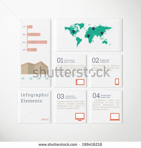 Minimal scalable tile design infographics with cloud icon set, map and diagrams for report, presentation, statistics - green, blue, red, brown version - stock vector
