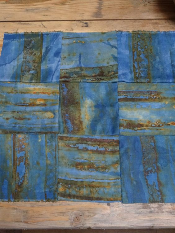 shibori, rust and indigo - experimental dyeing by Jule Mallett of www.hengrels.co.uk