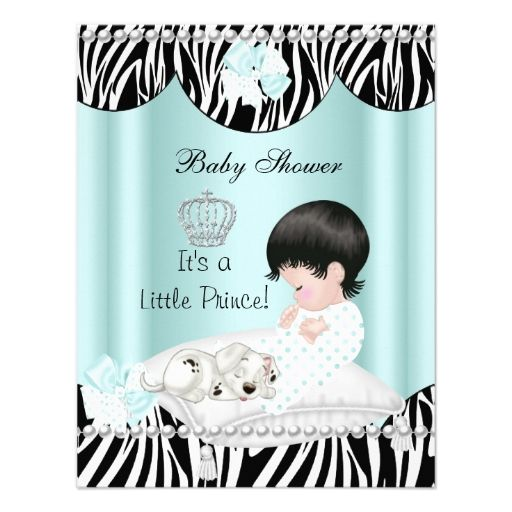 Prince Baby Shower Boy Mint Teal Blue Zebra Personalized Invitations