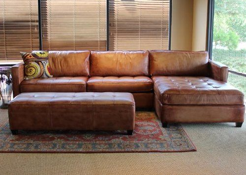 Phoenix Full Aniline Leather Sectional Sofa With Chaise (Vintage Amaretto)