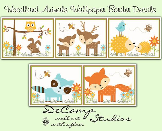 Woodland Forest Animals Wallpaper Border Wall Decals for
