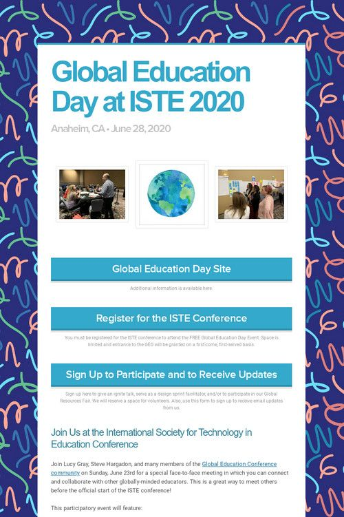 Global Education Day At Iste 2020 Global Education Education Day Education
