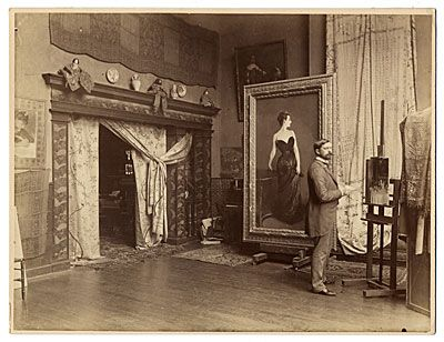 Citation: John Singer Sargent in his studio, ca. 1884 / unidentified photographer. Photographs of artists in their Paris studios, Archives of American Art, Smithsonian Institution.