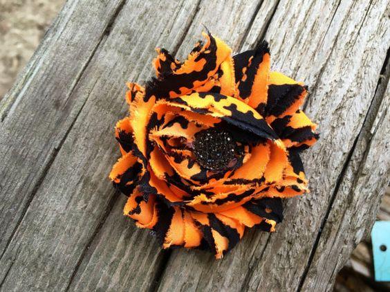 Frayed Flower hair clip with rhinestone center, halloween shabby chic flower, hair bows for girls, hair bows for teens, boho flower hair cli