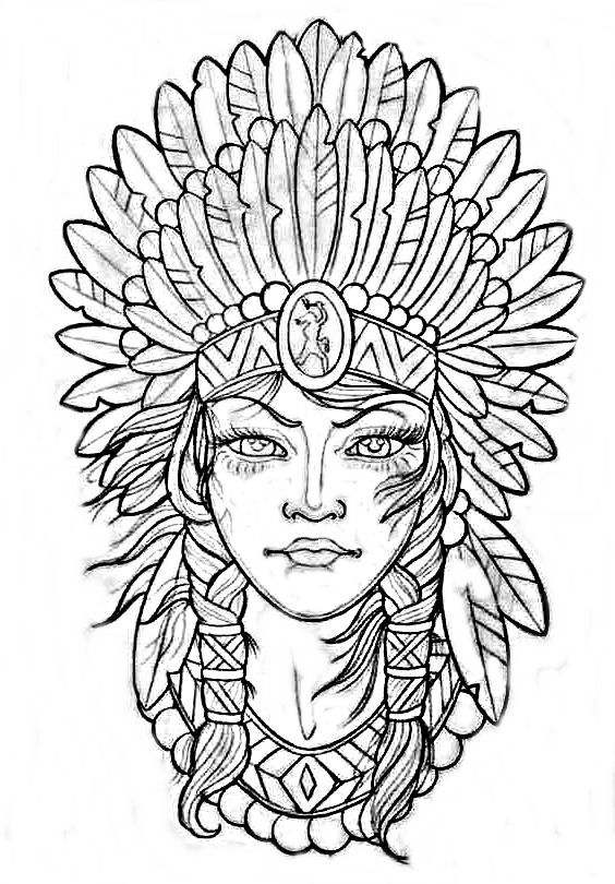 Indian Headdress Indian Tattoo Coloring Pages Tattoo Drawings