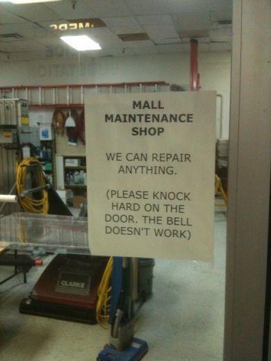 fail: The Doors, Maintenance Shop, Funny Pics, Funny Signs, Funny Pictures, Funny Stuff, Mall Maintenance, Door Bells