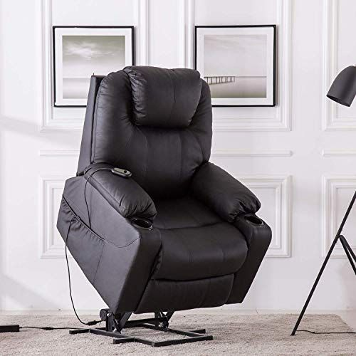 Power Lift Chair Recliner For Elderly Faux Leather Electric Lounge