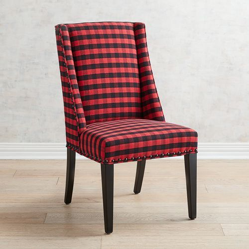 Owen Black Red Buffalo Check Plaid Dining Chair Dining Room Chairs Plaid Decor Bedroom Fabric Dining Chairs