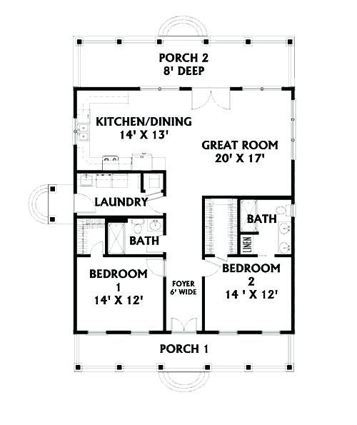House Plans With Stairs In Kitchen 2 Bedroom House Plans Open