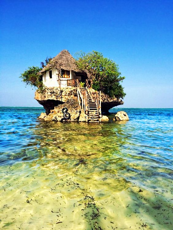 """The Rock"" Restaurant and Bar, Michanwi Pingwe beach, Zanzibar, Tanzania."