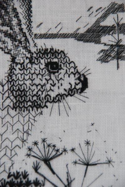 Florence Collingwood - blackwork rabbit #embroidery