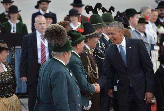 US-Präsident Obama: Handschlag auf dem Flughafen München #munich #Obama 06.06.2015