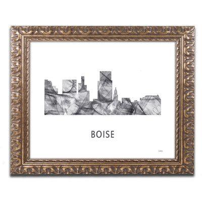 "Trademark Art ""Boise Idaho Skyline WB-BW"" by Marlene Watson Framed Graphic Art Size: 1"