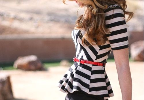 stripped peplum
