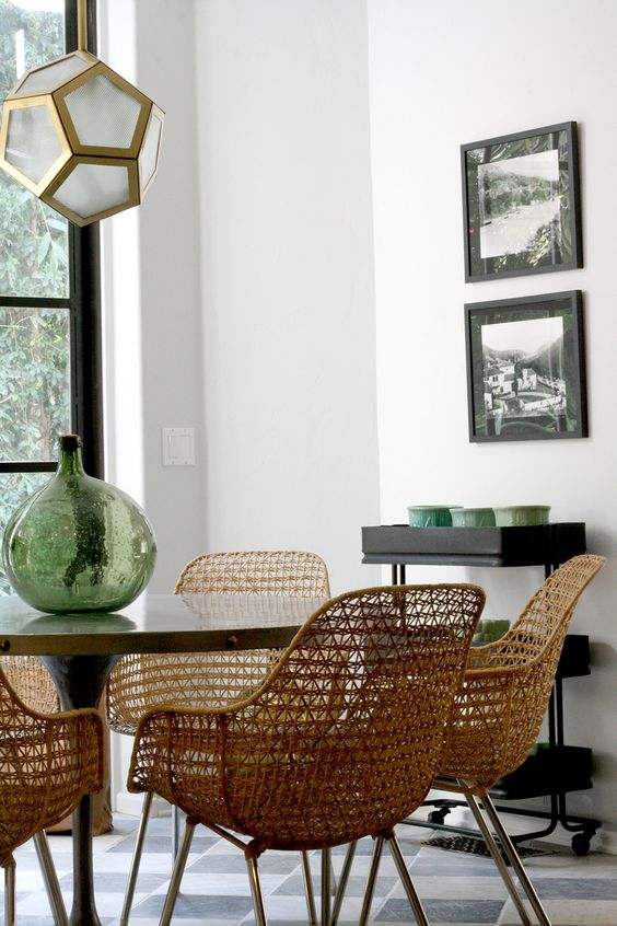 Wicker dining chairs.: