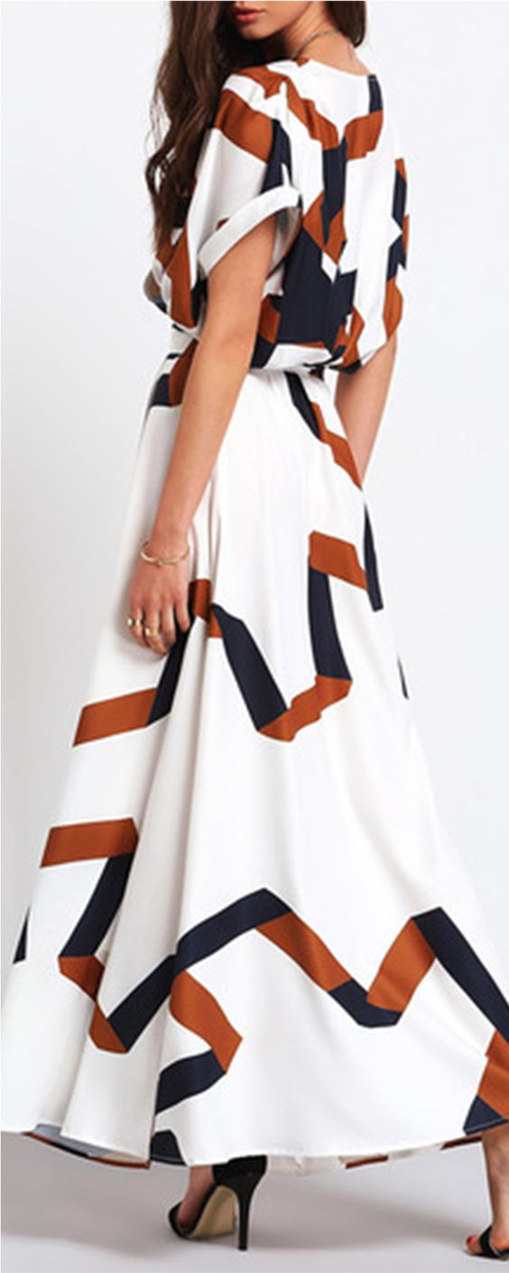 Crisp and airy, this short-sleeved maxi dress is in geometric print. It's crafted from chiffon with a v neck. The self-tie belted waist and side split will break up your proportions for a flattering fit.: