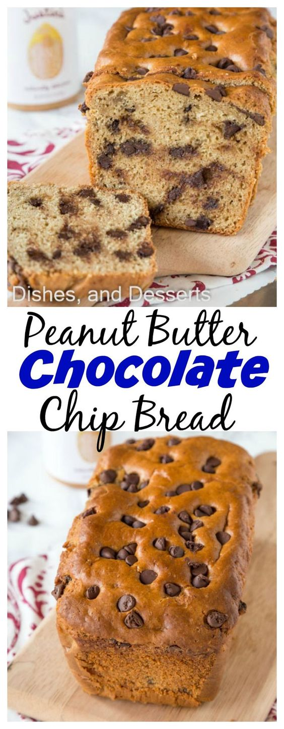 Peanut Butter Chocolate Chip Bread - a peanut butter quick bread full of chocolate chips! A great snack, breakfast, or even dessert.: